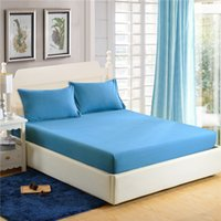 Wholesale white fitted sheets for sale - Group buy BZ606 Solid Color Fitted Sheet Set Cotton Blend Bedding Set Pillowcase Full Queen Size Mattress Cover Elastic Band