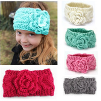 Wholesale Hand Knitted Newborn Baby - Flower Crocheted Baby Headbands Hand Knitted Headband for Children Winter Ear Warmers Infants Head Wraps Newborn Baby Photography Props