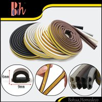 Wholesale Window Insulation Roll - 1 Roll Double 3M (=6M) Self Adhesive D Type Doors Windows Foam Sealing Strip Anti-Collision Sound Insulation Windproof EPDM Rubber Seal Pipe
