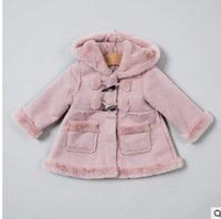 Wholesale Babies Cashmere Coats - Baby kids coats Infants cashmere Hooded outwears Toddler Kids Double-pockets Long Sleeve coats Winter Baby girls tops Kids clothing G1262