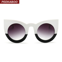 Wholesale Sexy Mixed Big Woman - Wholesale-Peekaboo 2017 fashion sexy round cat eye sunglasses gradient white black big ladies sun glasses for women cat eye luxury oculos