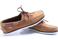 Wholesale Mens Leather Boat Shoes - Wholesale men suede sperrys top sider loafers boat shoes mens blue suede boat handmade loafers leather shoes casual shoes big size