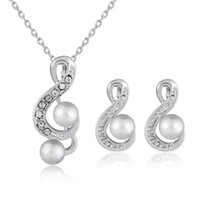 Wholesale musical note necklace silver - Crystal Pearl Musical Note Necklace Earrings Jewelry Sets for Wedding Brides Bridesmail in Silver Necklaces Studs Fashion Jewlery 162164