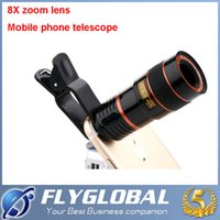 Wholesale Zoom Cell Phone - 2017 Universal HD 8X Zoom Mobile Phone Telescope Lens with Clip for Samsung Iphone Ipad Cell Phone Lens