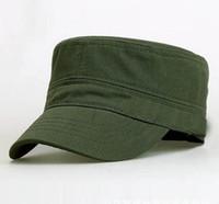 Wholesale Cadet Hats Wholesale - Wholesale 10 pcs Unisex Flat Top Military Hats Solid Adjustable Cadet Army hat Adult Spring Autumn Cotton Caps for Men Woman CS-220