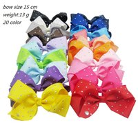 Wholesale Hair Clip Barrette Comb - JOJO 15CM Point Drill Bowknot Children Hairpin baby hair ornaments 20 colors Christmas head clip Princess headdress E259