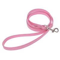 Wholesale Dog Leather Goods - Good Quality Leather Pet Plain Leash Small Large Dog Cowhide Lead Rope Fashion Dog Training Leash Pink Black Blue White Red Color 10PCS LOT