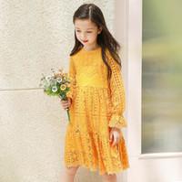 Wholesale Teenage Girl Lace Dresses - Retail 2017 Autumn New Teenage Girls Dresses Yellow Lace Hollow Out Princess Long Sleeve Dress Children Clothes 5-14T E17014