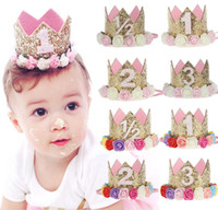 Wholesale first faces - Princess party photo prop headband Brithday Crown Headband First Sparkle Birthday Headband 24Pcs lot