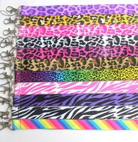 Wholesale Stripe Lanyard - Hot styles Leopard grain Stripe lovely Neck Strap Lanyard with Clip Fit Key ID Mobile Cell Phone Chain free shipping