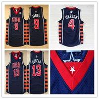 Wholesale Xxl Six - Basketball Jerseys 2004 Team USA Dream 6 SIX Navy Blue 23 LeBron James 21 Tim Duncan 4 Allen Iverson Jersey Shirt Mix Order