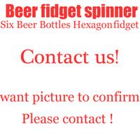 Wholesale Big Beer Bottles - Six Beer Bottles Hexagon Hand Spinner Fingertip Gyro Fidget Spinner Metal Tri-Spinner Gyro EDC Autism ADHD Stress Relief Toys