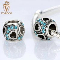 Wholesale Luxury Silver Plated Heart CUBIC ZIRCONIA Charms with Fit Original Pandora Bracelet Necklace DIY Jewelry Findings P5282