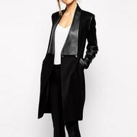 jaquetas de couro para mulheres venda por atacado-Atacado- 2017 Ucrânia Primavera inverno Mulheres Brasão Gothic Punk Preto PU Couro Patchwork Collar Splicing Jacket Longo casaco de lã XL