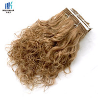 Wholesale human hair weave honey brown online - Brown Auburn Honey Blonde Wet Curly Human Hair Weft Wet and Wavy Remy Human Hair Weave Short Bob Style Kiss Hair Piano Color