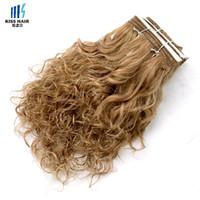 cheveux châtains aux cheveux bruns achat en gros de-Brun Auburn Honey Blonde Wet Curly Hair Trame Humide Humide et Ondulée Remy Armure De Cheveux Humains Court Bob Style Kiss Hair Piano Couleur