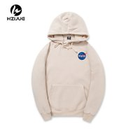 Wholesale Hooded Sweatshirt Xxl - 2017 XXL NASA Hoodie Streetwear Hip Hop Khaki Black gray pink white Hooded Hoody Mens Hoodies Sweatshirts XXL Plus Size