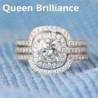 Queen Brilliance 1.1 Carat Cojín Corte Halo Engagement Wedding Lab Crecido Diamante Anillo Set Genuino 14k 585 Oro Blanco 17903