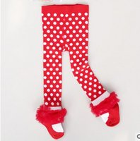 Wholesale Lace Ruffled Baby Leggings Wholesale - Fashion Polka Dots Baby Girls Leggings Autumn Winter Lace Ruffle Sweet Children Tights Boutique Kid Clothes infant leg warmers 7500