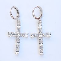 Wholesale 4g Earrings - Massive Real 24K White Gold Plated Austrian Crystal Crosses Pendant Men's Women's Drop Chandelier Earrings 4G