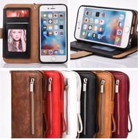 ingrosso borsa della cinghia di iphone-Per iphone 7 plus Premium Zipper Wallet Custodia magnetica Custodia Portamonete in pelle Flip Case Cover Strap a mano