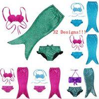 Wholesale fish bikinis - Swimmable Mermaid Tail Swimwear Kids Girls Bikini Set Beach Cute Swimming Fancy Dress Fish Tail Party Costume 32 Designs OOA1311