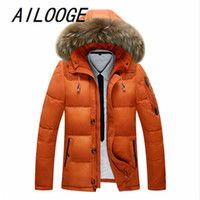 Wholesale Winter Jacket Fur Hood Mens - Wholesale- 2016 New Thick Warm With Raccoon Fur Collar Hood Jacket Men Winter Coats Casual 90% White Duck Down Mens Jackets And Coat Parkas