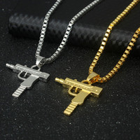 Wholesale gold heart shaped pendant necklace - New Hip Hop Necklaces Engraved Gun Shape Uzi Golden Pendant High Quality Necklace Gold Chain Popular Fashion Pendant Jewelry