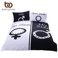 Wholesale Black White Red Bedspread - Wholesale-BeddingOutlet His & Her Side Bedding Set Black Bedspread Printed Quilt Bed Cover 3Pcs Queen King couvre lit Best Sell