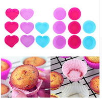 Wholesale Muffin Cases Free Shipping - PVC Box Muffin Cupcake Mould Round Shape Silicone Case Bakeware Maker Mold Tray Baking Cup Liner Baking Molds Free Shipping