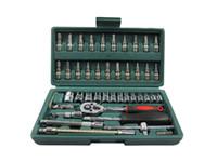 Wholesale Car Spanner Tool Set - 46pc Spanner Socket Set 1 4 Car Repair Tool Ratchet Wrench Set Cr-v hand tools Combination Bit Set Tool Kit Free shipping