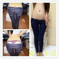 Wholesale Tight Cowboy - Wholesale- Cowboy pants female Ultra Slim low-rise jeans classic style pencil pants tight waist and buttocks