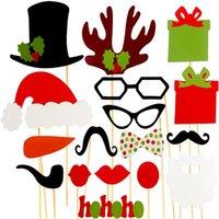 Wholesale Booths Bows - Wholesale-photo booth props 18PCS wedding party decoration lips moustache bow tie wedding birthday party Photo Booth christmas decoration