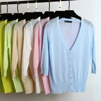 Wholesale Ice Air Conditioning - Wholesale-2016 Ice Silk seven short sleeved summer cardigan sweater thin women sun protection clothing air conditioning knit cardigan W856