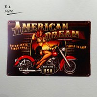 Wholesale Gift Package Ideas - DL- American Dream Motorcycle Pin Up Girl Sign Great gift idea for the motorcycle fanatic! wall sticker