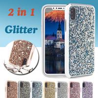 Wholesale Premium Skin Case - Premium Bling 2 in 1 Crystal Luxury Diamond Rhinestone Shockproof Glitter Skin Cover Case For iPhone X 8 7 Plus 6 6S Samsung Note 8 S8