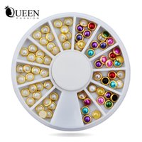 Wholesale Nail Rhinestones Gems Pearls - Wholesale- Hot 3d Nail Art Pearl Rhinestones Wheel,5mm Nail Stylish Tool Metal Studs Gems Charm Craft,DIY Manicure Nail Jewelry Decorations