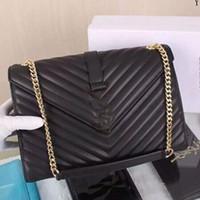 Wholesale Diagonal Handbags - Women's Classic Diagonal Twill Gold Chain Bag Shoulder Messenger Bag Handbag Purse Large Bags Black Blue Red 3008
