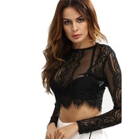 Wholesale See Through Long Blouse - Fashion Women Lace See-through Crop Shirt Women Summer Round Neck Long Sleeve Sexy Tops Zipper Blouse