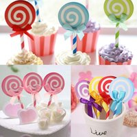 Wholesale-6PCS Cute Lollipop Party cupcake toppers choisit la décoration pour les enfants Fête d'anniversaire Cake favors Decoration supplies
