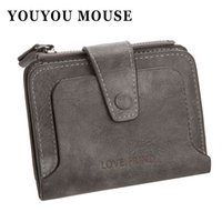 Wholesale Mouse Retro - YOUYOU MOUSE Fashion Retro PU Leather Wallet Short High Capacity Multi-bit Zip Coin Purse Hasp Solid Color Small Money Purse