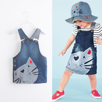 Wholesale Overall Denim Dress - Gils cute cat embroidery suspender denim dress infants cute casual Jean skirt Overalls Dresses for 1-7T