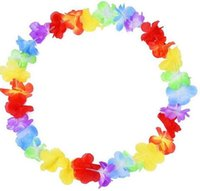 Wholesale Wholesale Beach Baskets - Hawaiian leis Party Supplies Garland Necklace Colorful Fancy Dress Party Hawaii Beach Fun