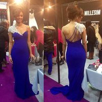 Wholesale cheap one sleeve party dresses - 2017 New Sexy Royal Blue Prom Dresses Sheath Long Crystal Beads One Shoulder Cap Sleeves Formal Party Cheap Evening Pageant Gowns BA1344