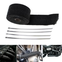 Wholesale Pipe Heating Tape - High Quality 16.5Ft Roll Black Fiberglass Exhaust Header Pipe Heat Wrap Tape + 4 Ties Kit CAL_602