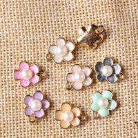 Wholesale Enamel Charms Mix - ewelry making charms Free shipping mix 50pcs 12*14mm Pearl Core Jewelry Flower Pendant Charms Oil Drop Enamel Alloy DIY Bracelet Floating...