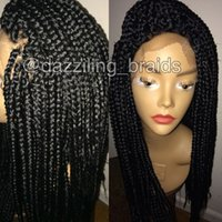 Wholesale Long Micro Braiding Hair - Stock long box braided synthetic lace front wigs micro braided lace front wig heat resistant synthetic hair for black women