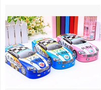 Wholesale Iron Stationery Pencil Box - Wholesale- Small car style three layers iron stationery box metal pencil box with bookshelf student learning supplies