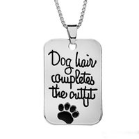 "Wholesale Pet Hair Jewelry - Pet Loves Jewelry Handstamped ""Dog hair completes the outfit "" Dog Tag Pet Print Paw Pendant Fashion Charms Necklace whosale"