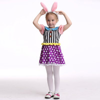 Wholesale Bunny Rabbit Dance Costume - Bunny Girl Costume Halloween Costume For Kids Stage & Dance Wear Rabbit Skirt Party Cosplay Toddler Short Sleeve Dress